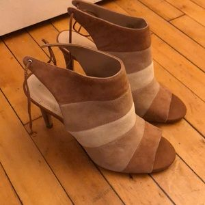 Tan stripped BCBG bootie heels